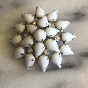 Vintage By Gale Milk Glass Rhinestone Brooch